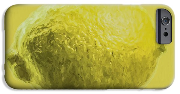 Painter Photographs iPhone Cases - Lemon Food Painted Digitally Macro iPhone Case by David Haskett