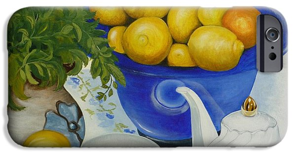 Tea Party Drawings iPhone Cases - Lemon Tea iPhone Case by Helen Syron