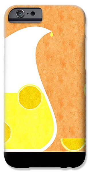 Lemon iPhone Cases - Lemonade And Glass Orange iPhone Case by Andee Design