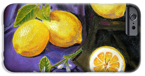 Lemon iPhone Cases - Lemons and Flowers iPhone Case by Irina Sztukowski