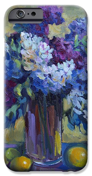 Still Life iPhone Cases - Lemons and Lilacs iPhone Case by Diane McClary