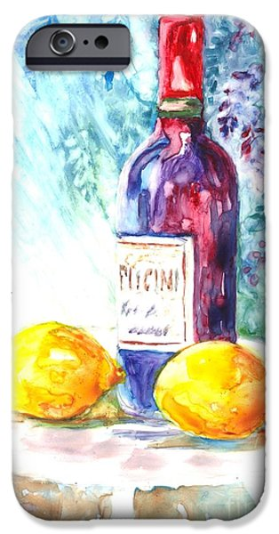 Lemons and Wine and a Little Sunshine iPhone Case by Carol Wisniewski