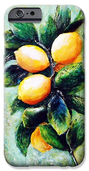 Original Sculptures iPhone Cases - Lemons in sunshine iPhone Case by Raya Finkelson