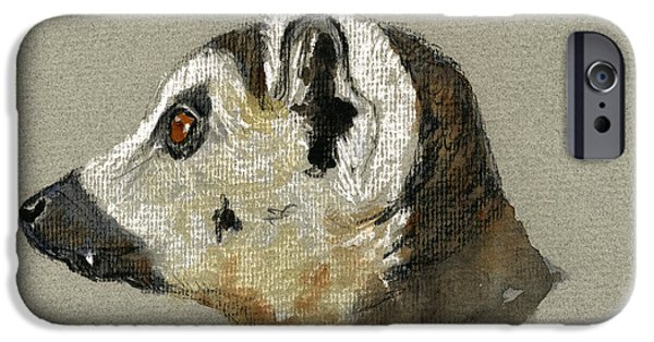 Nature Study Paintings iPhone Cases - Lemur head study iPhone Case by Juan  Bosco