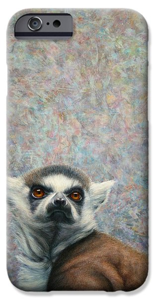 Nature Abstract iPhone Cases - Lemur iPhone Case by James W Johnson