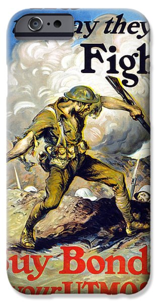Finance iPhone Cases - Lend The Way They Fight, 1918 iPhone Case by Edmund Ashe