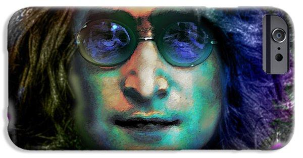 Austin Artist Digital Art iPhone Cases - Haunting Lennon  iPhone Case by Dan Terry