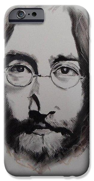 Beatles Pastels iPhone Cases - Lennon iPhone Case by Julie Hollis