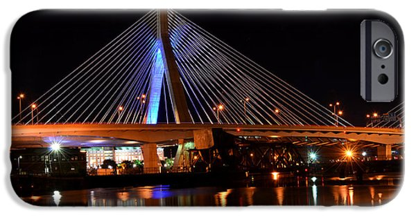 Boston Ma iPhone Cases - Lenny Zakim Bridge Boston MA iPhone Case by Toby McGuire