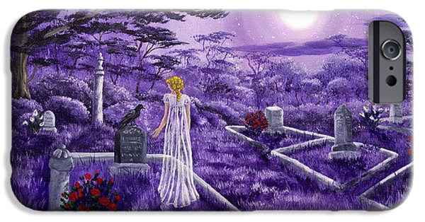 Crows Paintings iPhone Cases - Lenore in Lavender Moonlight iPhone Case by Laura Iverson