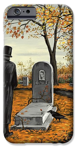 Headstones Paintings iPhone Cases - Lenore Lenore iPhone Case by Margaryta Yermolayeva