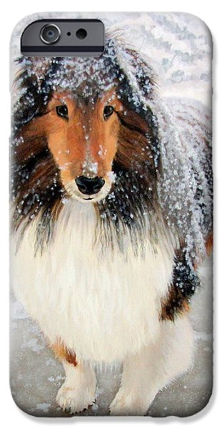 Dogs In Snow. Paintings iPhone Cases - Leo in the Snow iPhone Case by Sandra Chase