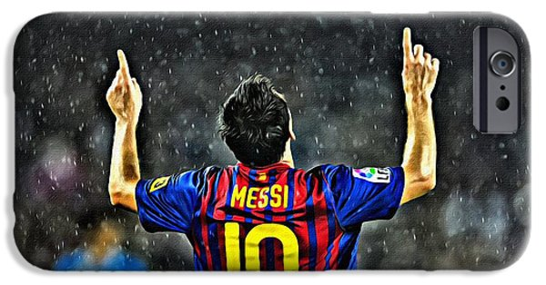 Athlete Digital Art iPhone Cases - Leo Messi Poster Art iPhone Case by Florian Rodarte
