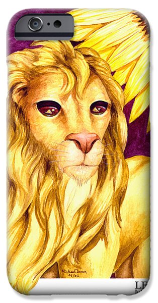 Signs Of The Zodiac Paintings iPhone Cases - Leo iPhone Case by Michael Baum