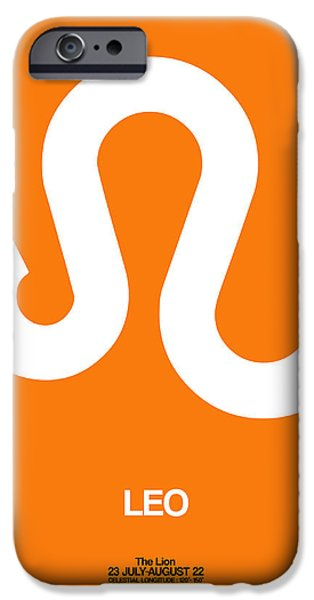 Leo iPhone Cases - Leo Zodiac Sign White on Orange iPhone Case by Naxart Studio