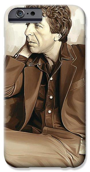 Poet iPhone Cases - Leonard Cohen Artwork 2 iPhone Case by Sheraz A