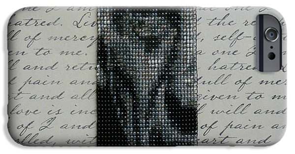 Sterling Silver Bracelet Jewelry iPhone Cases - Leonard Nimoy as Spock Prime Beaded Art Wide Cuff Square Stitch Bracelet w/ Sterling Silver Clasp iPhone Case by N Faulkner