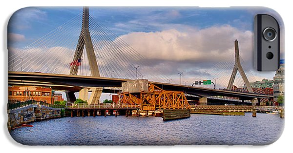 Boston Ma iPhone Cases - Leonard P Zakim Bridge iPhone Case by Geoffrey Bolte