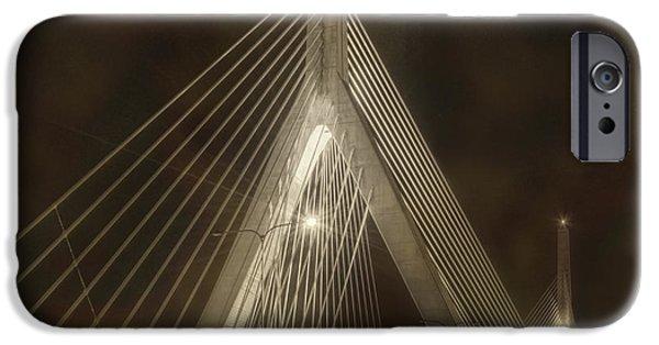 City. Boston iPhone Cases - Leonard P Zakim Bridge - Sepia iPhone Case by Joann Vitali