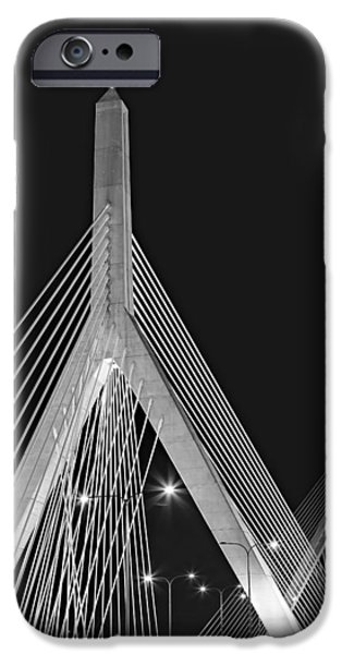 New England iPhone Cases - Leonard P. Zakim Bunker Hill Memorial Bridge BW II iPhone Case by Susan Candelario