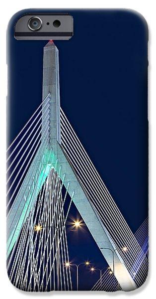 Boston iPhone Cases - Leonard P. Zakim Bunker Hill Memorial Bridge II iPhone Case by Susan Candelario