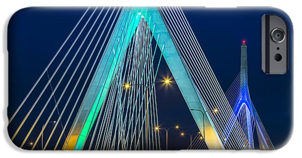 Charles River iPhone Cases - Leonard P. Zakim Bunker Hill Memorial Bridge iPhone Case by Susan Candelario