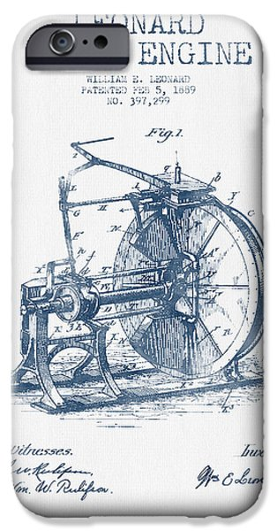 Steam Engine iPhone Cases - Leonard Steam Engine Patent Drawing From 1889- Blue Ink iPhone Case by Aged Pixel