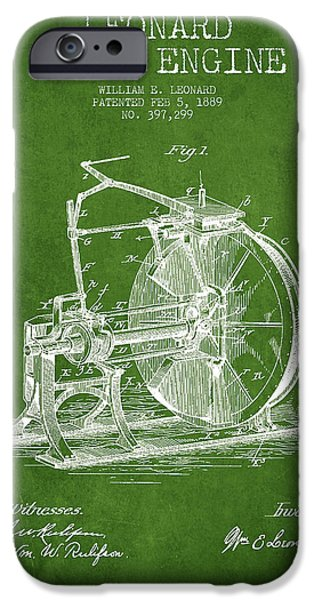 Steam iPhone Cases - Leonard Steam Engine Patent Drawing From 1889- Green iPhone Case by Aged Pixel