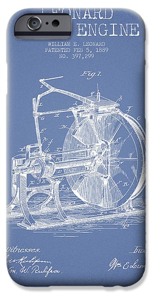 Steam iPhone Cases - Leonard Steam Engine Patent Drawing From 1889- Light Blue iPhone Case by Aged Pixel