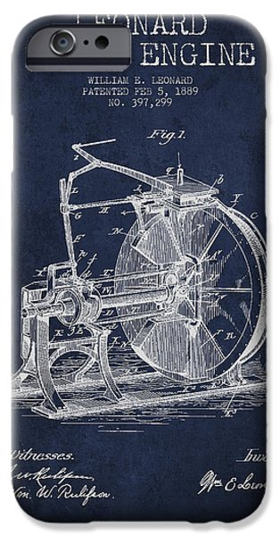 Steam Engine iPhone Cases - Leonard Steam Engine Patent Drawing From 1889- Navy Blue iPhone Case by Aged Pixel
