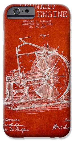 Steam Engine iPhone Cases - Leonard Steam Engine Patent Drawing From 1889- Red iPhone Case by Aged Pixel