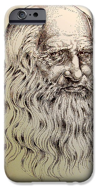 Sepia Ink Drawings iPhone Cases - Leonardo da Vinci iPhone Case by Derrick Higgins