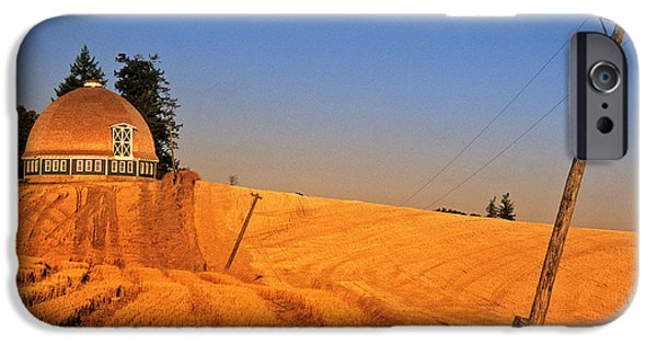 Contour Farming iPhone Cases - Leonards Round Barn iPhone Case by Latah Trail Foundation