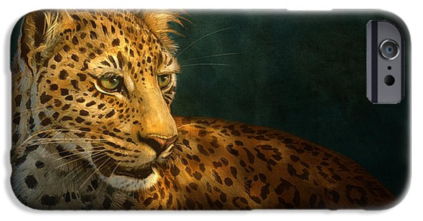 Wildlife Digital iPhone Cases - Leopard iPhone Case by Aaron Blaise