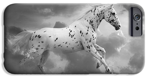 Horse Digital Art iPhone Cases - Leopard Appaloosa Cloud Runner iPhone Case by Renee Forth-Fukumoto