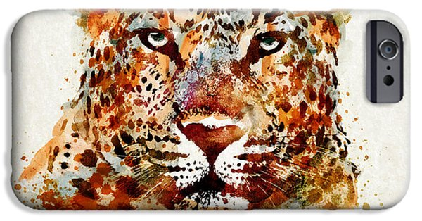 Marian iPhone Cases - Leopard Head watercolor iPhone Case by Marian Voicu