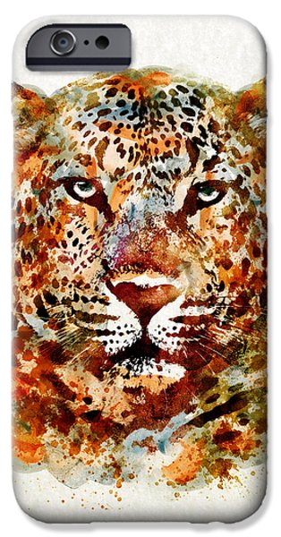 Beauty Mixed Media iPhone Cases - Leopard Head watercolor iPhone Case by Marian Voicu
