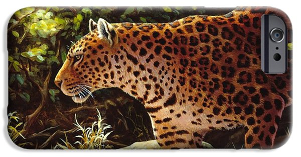 Wild Animals iPhone Cases - Leopard Painting - On The Prowl iPhone Case by Crista Forest