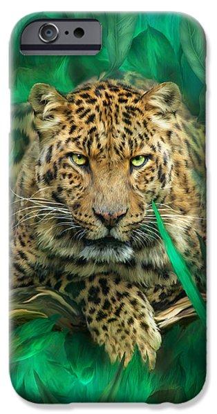 Carol Cavalaris iPhone Cases - Leopard - Spirit Of Empowerment iPhone Case by Carol Cavalaris