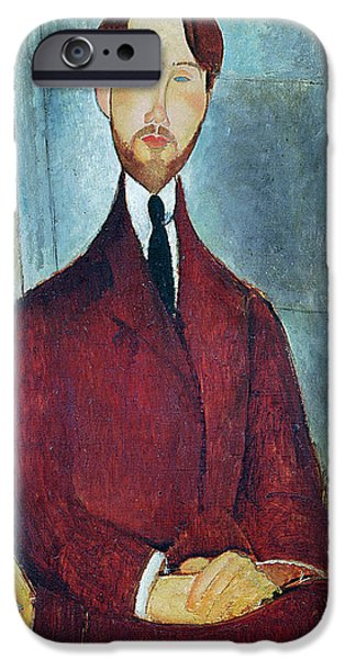 Clemente Paintings iPhone Cases - Leopold Zborowski iPhone Case by Amedeo Modigliani