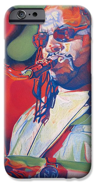 Player Drawings iPhone Cases - Leroi Moore Colorful Full Band Series iPhone Case by Joshua Morton