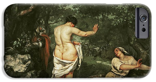 Bathers iPhone Cases - Les Baigneuses, 1853 Oil On Canvas iPhone Case by Gustave Courbet