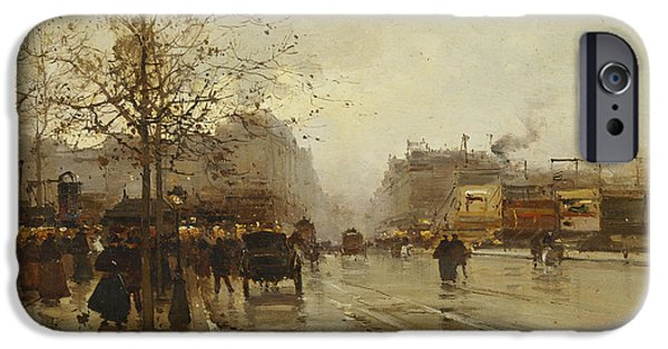 Jacques Lieven iPhone Cases - Les Boulevards Paris iPhone Case by Eugene Galien-Laloue