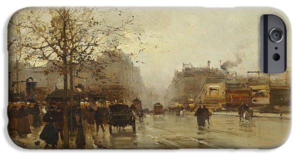 19th Century Paintings iPhone Cases - Les Boulevards Paris iPhone Case by Eugene Galien-Laloue