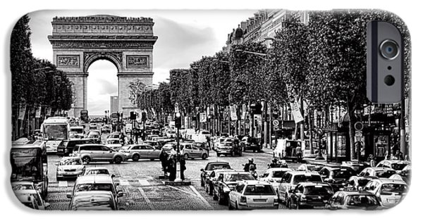 Bus Photographs iPhone Cases - Les Champs Elysees  iPhone Case by Olivier Le Queinec