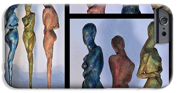 Model Sculptures iPhone Cases - Les filles de lAsse 1 Triptic collage iPhone Case by Flow Fitzgerald