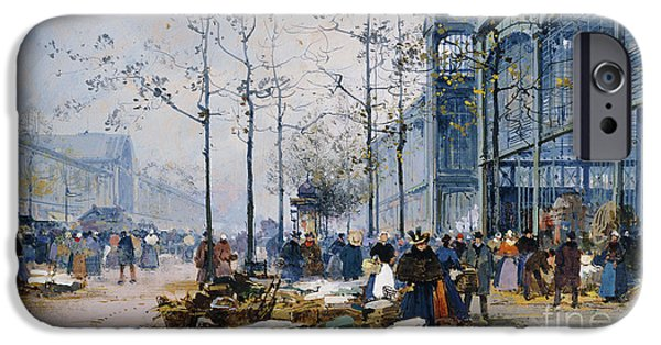 19th Century Drawings iPhone Cases - Les Halles Paris iPhone Case by Jacques Lieven