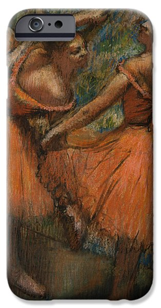 Tutus Paintings iPhone Cases - Les Jupes Rouge iPhone Case by Edgar Degas