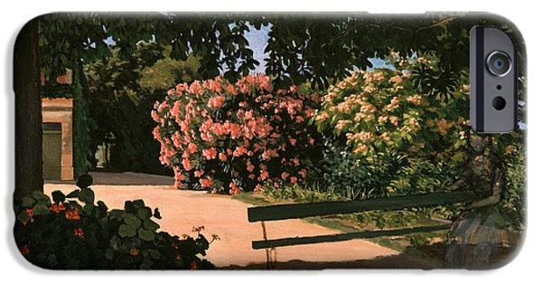 `les iPhone Cases - Les Lauriers Roses, 1867 Oil On Canvas iPhone Case by Jean Frederic Bazille