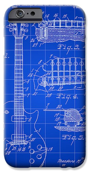 Old Digital iPhone Cases - Les Paul Guitar Patent 1953 - Blue iPhone Case by Stephen Younts